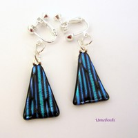 Conic Patterns Dichroic Glass Dangle Earrings in Black and Teal Screw/Clip Earrings