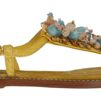 Yellow Crocodile Crystal Sandals