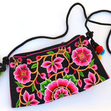 Flowers and Caterpillars: Embroidered Shoulder Bag with Tassels