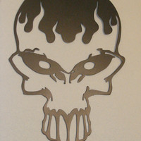 Bloody Flaming Skull Spooky Punisher 16 Gauge Metal Wall Art Hanging