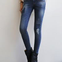 Navy Bleached Ripped Denim Pants
