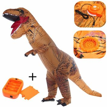 Airsuit Inflatable T-REX Dinosaur Costume Jurassic Blowup Fancy Hallowmas Cosplay Party Dress Suit Novelty Gift
