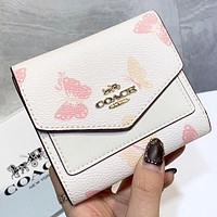 COACH New fashion butterfly print leather wallet purse handbag White