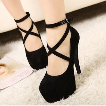 Pretty Sexy Black Ladies/Womens Wedding Platform Pump Stiletto Strap High Heels