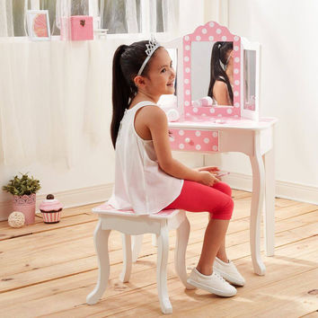 Teamson Kids - Fashion Prints Polka Dot Vanity Table & Stool Set