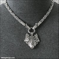 Viking Royalty Animal Head Chain Necklace with Large Tribal Wolf Head Pendant - All Premium Quality Stainless Steel