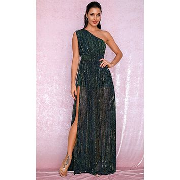 Follow The Feelings Dark Green Gold Sequin Sleeveless One Shoulder Sheer Mesh Side Slit Maxi Dress