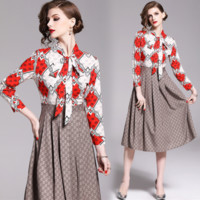 GUCCI Newest Fashion Women Print Long Sleeve Lapel Pleated Shirt Dress