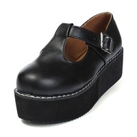 Black PU Leather T-Straps Platform Shoes
