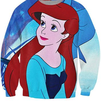 Ariel The Little Mermaid All Over Full Print 3D Diy Sublimated Polyester Blend Unisex Crew Neck Sweatshirt