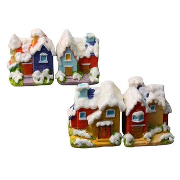Snow Villa Christmas Resin House Terrarium Figurine Fairy Garden Miniatures Home/ Mini Garden Decoration Cute Friends Gifts