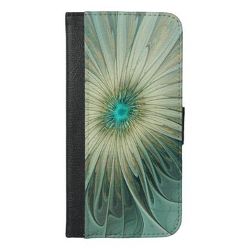 Modern Abstract Fantasy Flower Turquoise Wheat iPhone 6/6s Plus Wallet Case