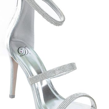 Silver Jeweled Strappy Anklet Platform Sandal Formal Heels Women's