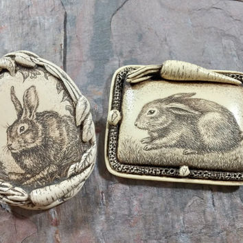 Rachel Badeau Vintage Scrimshaw Etchings Bunny Rabbit Lot of Two Pins Signed R.H. Badeau Dated 1995 and 1996 Sweet Images Bunny Lovers Cute