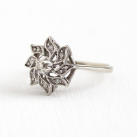Diamond Starburst Ring - Size 6 1/4 Mid Century 1960s 14k White Gold .11 CTW - Cluster Flower Retro Fine Cocktail Statement Jewelry