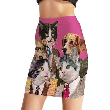 Personality Women Sexy High Waist Skirts Tennis Bowling Skirts Slim 3D Cartoon Cats Elastic Female Girls Party Apparel S-4XL