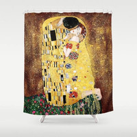Gustav Klimt The Kiss Shower Curtain Art Love Wedding Couple Romantic Home Decor Fantasy Gold Bathroom Decor Floral