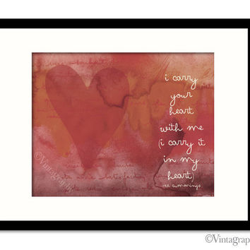 I CARRY Your HEART print in Red, EE Cummings Quote, Inspirational, Love quote, Typography Print,  8x10