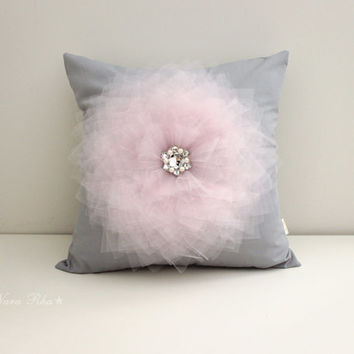 Grey Pillow Cover 16 x 16  Light Pink Flower on Gray Pillow Throw Pillow Couch Pillow Cushion Cover Accent Pillow