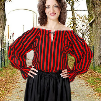 Striped Pirate Blouse Black Red