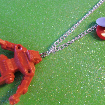 Red Robot Toy Necklace - Vintage 1950s Toy Rare - Antique Toy Necklace - Tiny Toy Upcycled Necklace