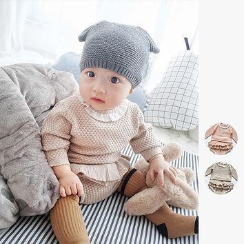 Two Girls Suit Knit 0-2 Year Old Cotton Baby Long Sleeve Blouse + Lotus Leaf Shorts Baby Clothing Set