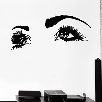 Vinyl Wall Decal Girl's Face Big Eyelashes Beautiful Eyes  Stickers Mural (g195)