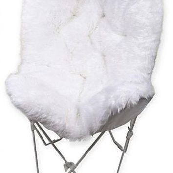 White Faux Fur Butterfly Chair Chic Accent Decor Cushion Dorm Bedroom Folding