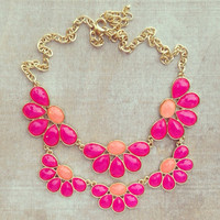 PINK PEONIES NECKLACE