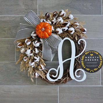 NEW! Rustic Fall Cotton Grapevine Wreath with Burlap. Fall Wreath. Autumn Wreath. Housewarming, Wedding, Mother's Day.