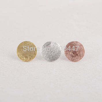 Round Earrings for Women Gold Silver Pink Gold Brushed Round Circle Stud Earrings