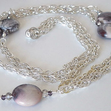 Silver Chain ID Badge Lanyard, Porcelain Jasper Coin Beads, Crystals