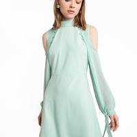 MINT BUTTON COLD SHOULDER DRESS