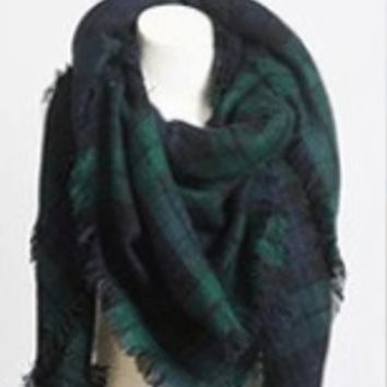 Classic Plaid Blanket Scarf- Green