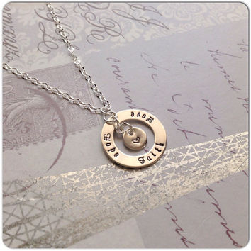 Faith Hope Love Necklace - Hand Stamped Sterling Silver Jewelry Inspirational Christian Gift Bible Verse Corinthians - Tiny Disc with Heart