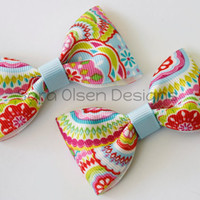 Pair of Sweet and Simple Light Blue Red Orange Yellow and Green Tuxedo Hairbows Clips Multicolored Design Print