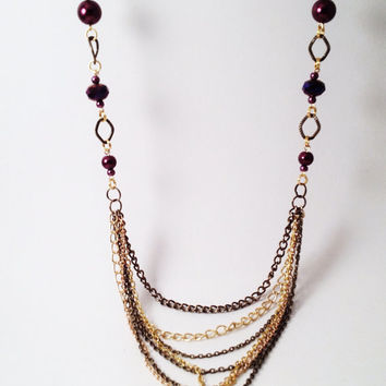 Purple bronze and gold multi chain necklace