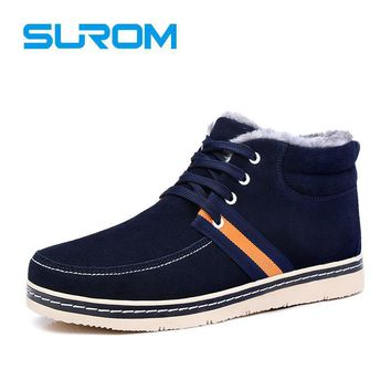 SUROM Winter New High Quality Leather Men's Snow Boots Plush Lining and Insole Keep Wa