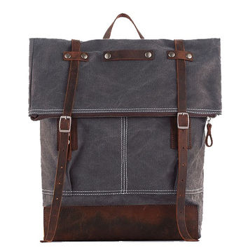 Denali – Leather & Waxed Canvas Backpack