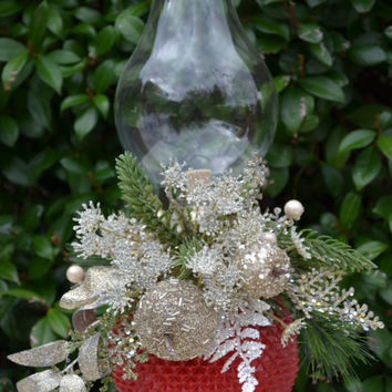 Red and Silver Christmas Lantern with Fruit and Floral Accents- Christmas Decor-Wedding-Rustic Cottage Decor- Home Decor- Christmas Gift