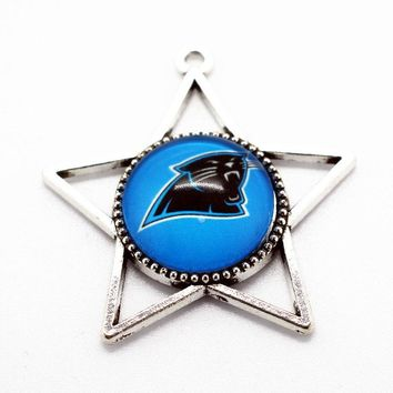 New arrival 10pcs/lot football Team Sports Carolina Panthers Hanging Glass Pendant Dangle Charms For necklace jewelry