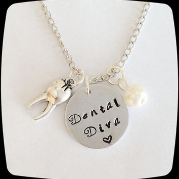 HandStamped Jewelry, Dentist, Dental Diva, Dental Hygienist, Dental Office Professional Necklace