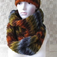 Multicolor cowl scarf, Mens snood scarf, Mens Cowl, Gift for men, Cowl Scarf - Colorful men scarf,