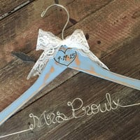 Blue Rustic Wedding Hanger, Distressed Bridal Hanger, Something Blue, Shabby Chic Bride Hanger, Rustic Wedding, Personalized Hanger