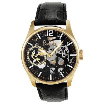 Invicta Vintage Mechanical Hand Wind Skeleton Dial Gold-plated Mens Watch 12405