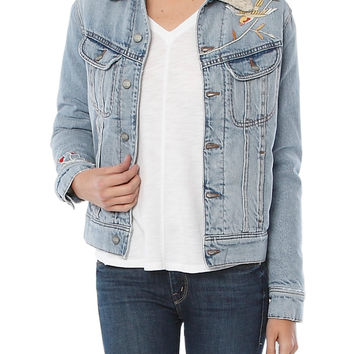 DANA EMBROIDERED SHERPA LINED DENIM JACKET