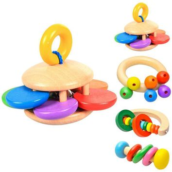 Wooden Rattle Bell Baby Toy