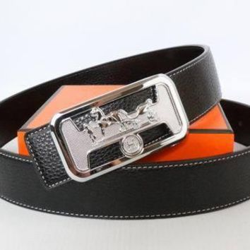 HERMES Woman Men Fashion Smooth Buckle Belt Leather Belt-63