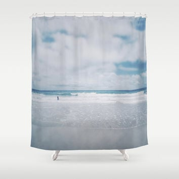 Vintage beach. Playing with the waves. Shower Curtain by Guido Montañés
