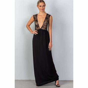 Ladies Sleeveless Plunge Maxi Dress